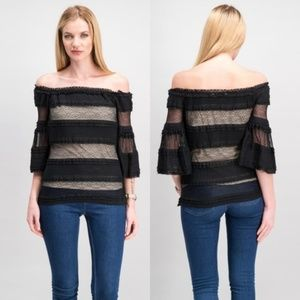 Rachel Roy Off Shoulder Lacy Top Size S NWT